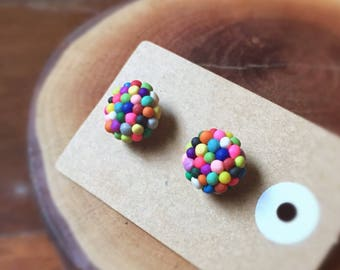Handmade MADE TO ORDER Little Bits Earrings Colourful Rainbow Chocolate Sweet Freckles Stud Earrings Polymer Clay Surgical Steel