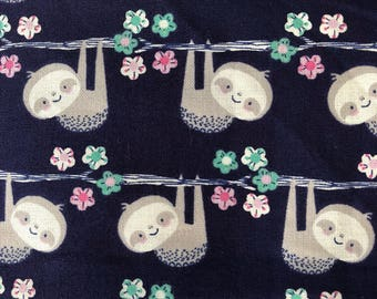 Personalized Minky Baby Blanket / Navy Sloths Minky Baby Blanket