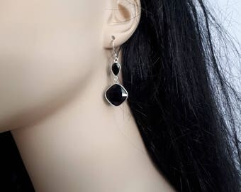 Black onyx earrings, faceted, 92.5 sterling silver; long earrings