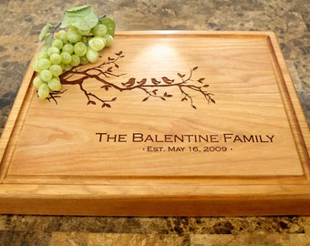 Personalized Chopping Block, 12x15~1&3/4 thick Walnut/Cherry/Sapele, Engraved Butcher Block  - Wedding, Anniversary, Housewarming Gift. 402