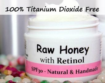Spf30 Raw Honey(unpasteurized) - Face Moisturizer - Sunscreen - Illuminator/Glow/with Natural Vitamin A/Retinol - Handmade Natural Skincare