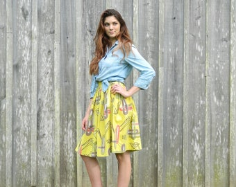 Yellow Midi Skirt with Geometric Pattern / Full Pleated Midi Skirt, Size 0