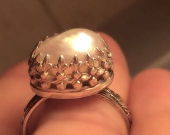 Handmade Pearl Ring/Natural Pearl and Sterling Silver Ring-Free Shipping  for a limited time.