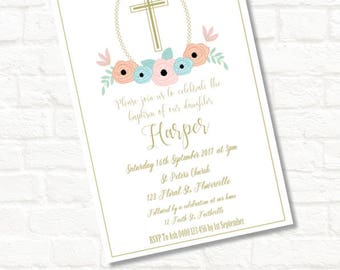 4x6 floral baptism christening dedication invitation jpeg download digital file