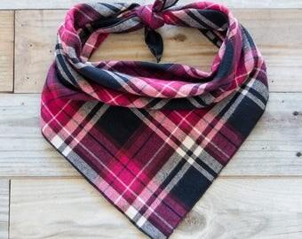 Pink Plaid Flannel Dog Bandana, Pink and Navy Plaid Dog Bandana, Tie On Bandana
