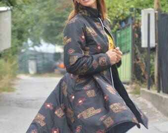 Asymmetric Winter Women Coat, Fashion Long Zipper Jacket, Extravagant Plus Size Jacket, Extra Warm Cape Coat by SSDfashion
