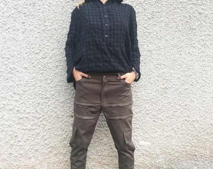 Women's Military Pants, Cotton Plus Size Pants, Drop Crotch Harem Pants, Extravagant Zippers Trousers by SSDfashion
