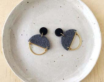 Silhouette Earrings - Jet Black & Grey Granite with a Brass Semi Circle Silhouette.