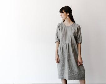 Grey Linen Dress. Everyday Linen Dress.