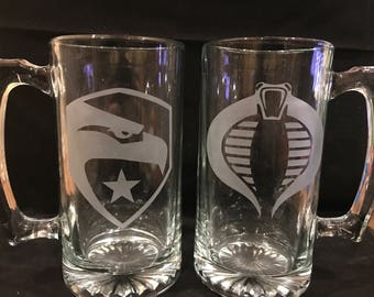G.I. Joe etched beer mug set