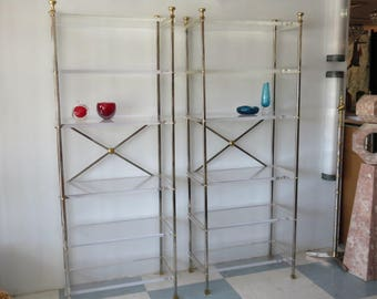Pair Of Mid-Century Modern Etagere's. Stainless-Steel, Brass And Custom Thick Lucite Shelves. In The Manner On Maison Jansen.
