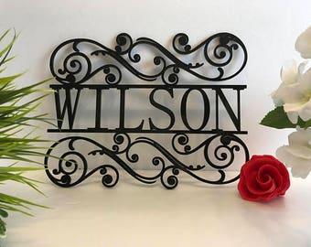 Personalized Family Last Name Sign for Outdoor Use Custom House Sign Monogram Garden Door Sign Custom Wedding Gift Door Hanger Housewarming
