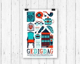 Screen print poster home - Gedigdag at Vera Groningen - gig poster 70 x 50 cm