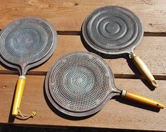 Vintage Metal Strainer with Wood Handle /  Pan Cover Grease Splatter Protector /  Rustic Farmhouse  Decor  Set Of 3