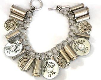 Silver Bullet Charm Bracelet with Swarovski Crystals , Women's bracelets, Recycled bullets, Handmade jewelry, Valentines gift