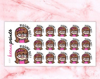 15% OFF A301 | Pigging out stickers, eat out stickers, lunch stickers, Keenachi Repositionable stickers Perfect for Erin Condren Life Planne
