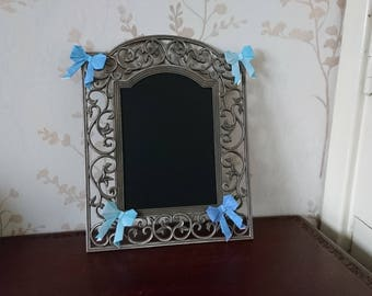 Fancy metal blackboard with blue watercolour Origami bows, Ideal for events.