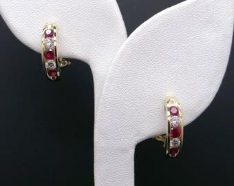 Fine 18k Yellow Gold 1ct Round Cut Ruby Diamond Hoop Huggie Earrings French Backs