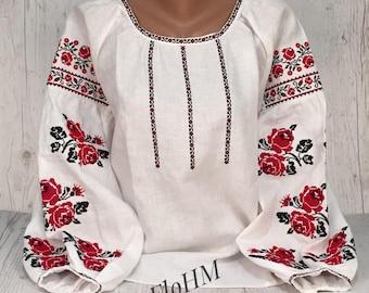 Embroidered Ukrainian Blouse Vyshyvanka, Boho Blouse, Linen Blouse