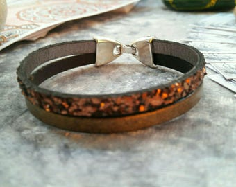 glittery gold and Brown Leather Bracelet