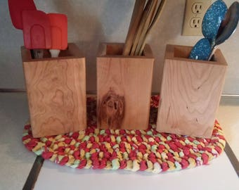 Rustic Cherry wood utensil holders
