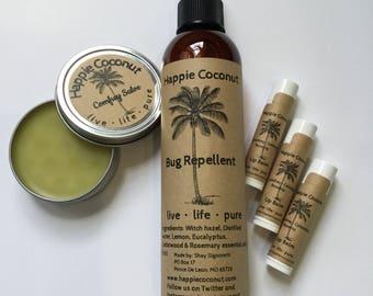 Summer Essentials - 8 oz Bug Repellent, 2oz Comfrey Salve, 3 Natural Comfrey Calendula Lip Balms with Rosehip