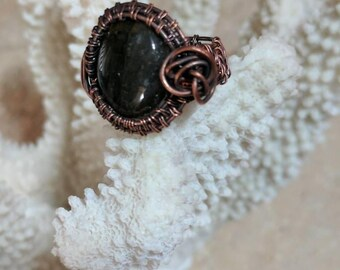 Copper Wire Wrapped Labardorite Statement Ring
