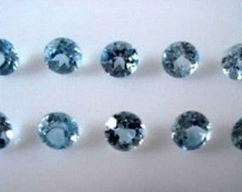 Lot Of 5 Piece Sky Blue Topaz Round cut Faceted Loose Gemstone for jewelry