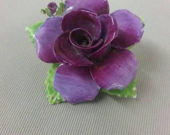 Purple porcelain flower brooch