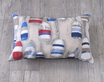 "Buoy, Colorful cushion 12""x20"" /30x50 cm, Harbor,stripe, Marine decoration, Nautical design, house warming, summer house, Father's day, Gift"