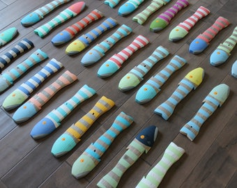 LARGE SET OF 30 - Wooden Fish Nautical Fish Decor - Reclaimed Fish - Reclaimed Picket Fence Fish