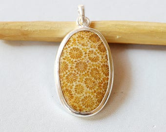 """Fossil Coral Pendant 8.6 Gm Natural Gemstone Silver Pendant Fossil Coral 925 Solid Silver Pendant Oval Shape  1.8""""x0.9"""" Inch RJ135"""