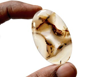 Montana Agate 59.5 Ct Oval Shape beautiful Natural Gemstone Cabochon 46x28x5.6 MM R14408