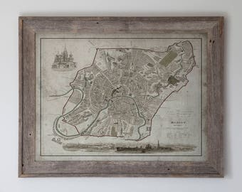 Moscow Map: Reclaimed Barnwood Frame - Vintage Map of Moscow, Russia - Circa 19th C.