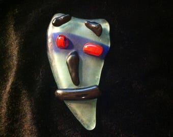 Tribal Art Mask OOAK Fused Glass Piece