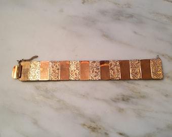 Vintage gold plated panel bracelet