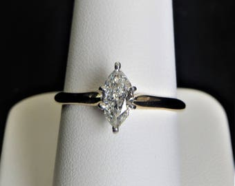 Vintage 14k Yellow Gold Solitaire Engagement Ring