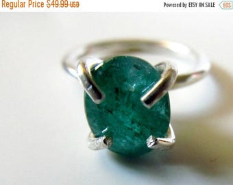 SALE Emerald Ring - Sterling Silver Green Gemstone Ring - May Birthstone - Emerald Jewelry - Silver Gem Ring - Boho Crystal Ring - Statement