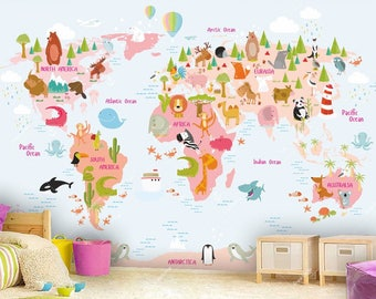 World Map Wall mural in Pink and Light Blue, Children Map with Animals, Wallpaper, Wall décor, Wall decal, Nursery and room décor, Wall art