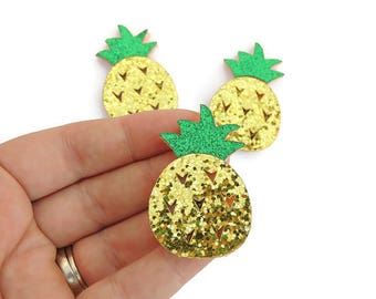 Pineapple feltie - Glitter feltie - Pineapple Felt- Pineaple felt bow - Yellow pineapple feltie - Pineapple hair bow - Pineapple headband