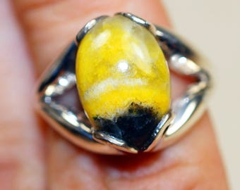Bumble Bee Jasper set in Solid 925 Sterling Silver Ring size 7
