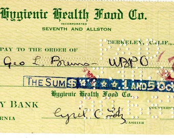 Hygienic Health Food Co. Seventh and Allston. Check 1922 Berkeley California