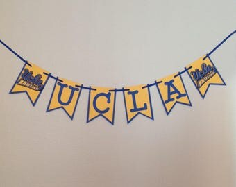 Ucla Bruins Banner inspired Cardstock Wall Decoration Birthday Wedding Baby Shower Anniversary Party Sign Celebrate Blue Yellow Handmade new
