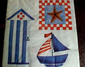 4 napkins in paper, Navy paper towel, beach cabin paper towel