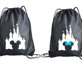 Minnie Mickey Castle Drawstring Bag, Disney World Land Accessory, Disney Trip, Disney Inspired Tote, Disney Backpack #2
