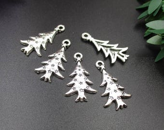 10Pcs 26x14mm Silver Christmas Tree Charms-p1208-B