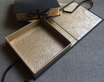 Black and gold box, Handmade gift box, Cardboard box, Box with lid, Wedding box, Jewelry display box, Customizable box, Photo box