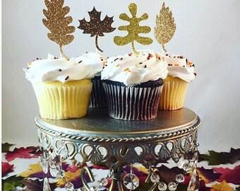 Christmas in July Sale Leaf Glitter Cupcake Toppers, Fall Cupcake Toppers, Thanksgiving Cupcake Toppers, Brown Glitter Cupcake Toppers- Set