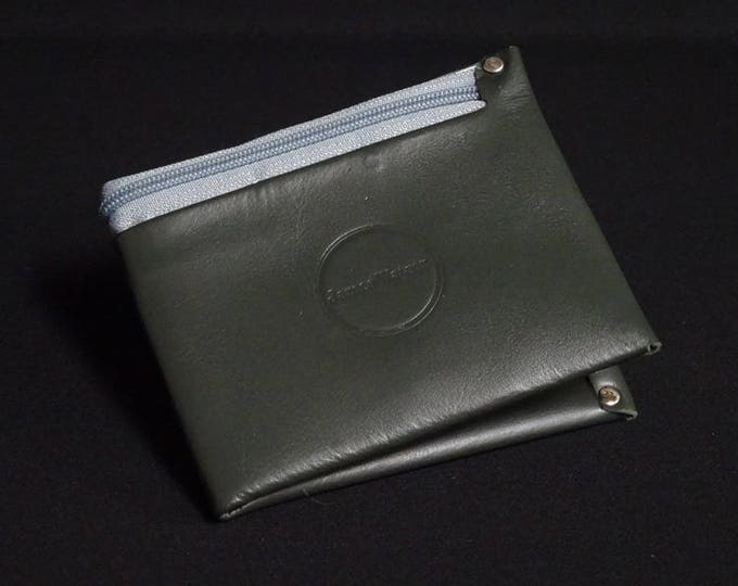 8Pocket Wallet with Zip - British Racing Green with Grey Zip - Kangaroo leather with RFID credit card blocking - Handmade - James Watson
