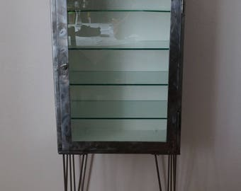 Vintage Polished Medical Cabinet on Hairpin Legs 1970'